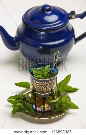 Traditional Arab Mint Tea, White Background