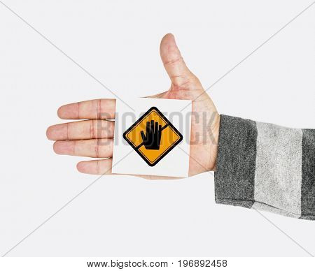Hand Shoot Showing Don't Touch Caution Sign Note