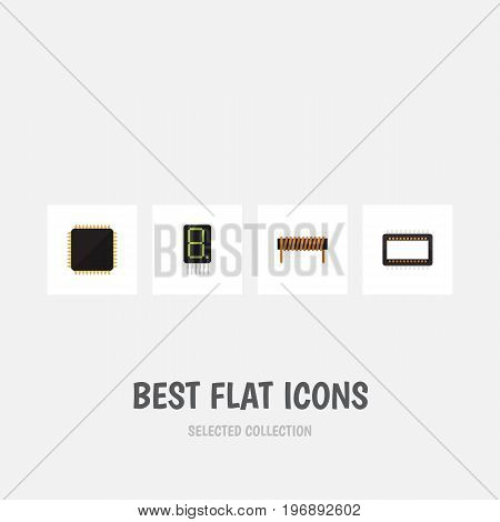 Flat Icon Technology Set Of Cpu, Mainframe, Bobbin And Other Vector Objects