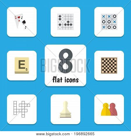 Flat Icon Entertainment Set Of Gomoku, Guess, Mahjong And Other Vector Objects