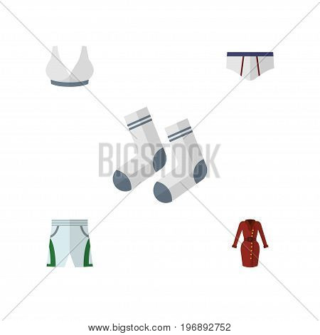 Flat Icon Dress Set Of Trunks Cloth, Clothes, Foot Textile And Other Vector Objects