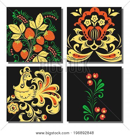 Vector khokhloma pattern cards design traditional Russia drawn illustration ethnic ornament painting decoration objects, elements for poster, banner, print, logo, advertisement design.