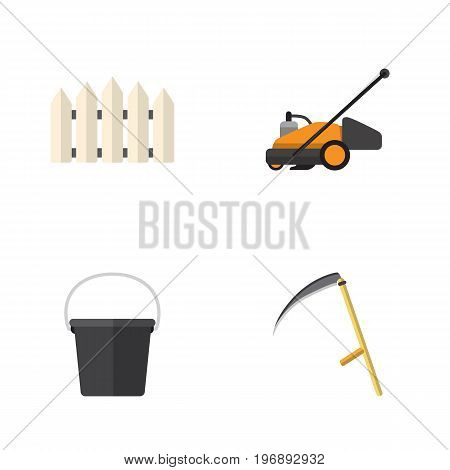 Flat Icon Garden Set Of Pail, Wooden Barrier, Cutter And Other Vector Objects