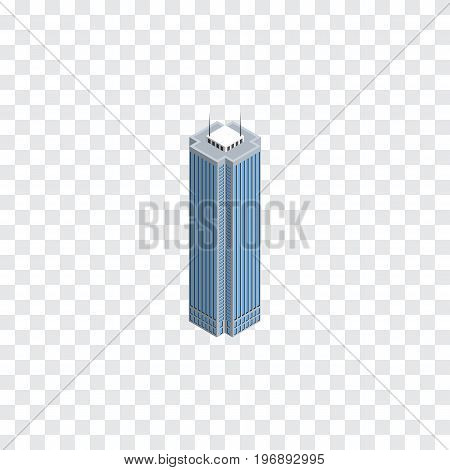 Skyscraper Vector Element Can Be Used For Business, Center, Skyscraper Design Concept.  Isolated Business Center Isometric.