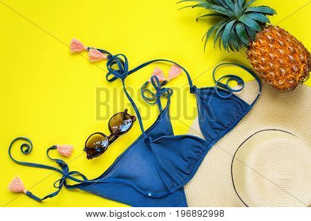 Woman Things Accessories Bathing Suit Sunglasses Straw Hat Pineapple Beach Season Set for Trip Travel Holiday Concept Tropical Theme
