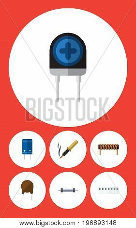 Flat Icon Electronics Set Of Resistor, Triode, Memory And Other Vector Objects