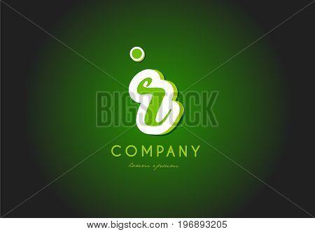 R Alphabet Letter Logo Green 3D Company Vector Icon Design
