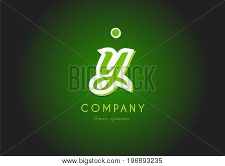 Y Alphabet Letter Logo Green 3D Company Vector Icon Design