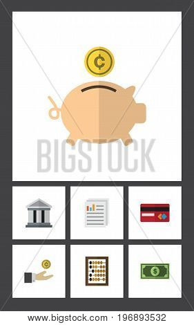 Flat Icon Incoming Set Of Greenback, Counter, Money Box And Other Vector Objects