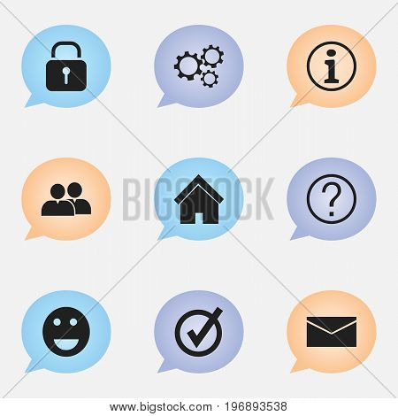 Set Of 9 Editable Network Icons. Includes Symbols Such As Emoji, Security, Group And More