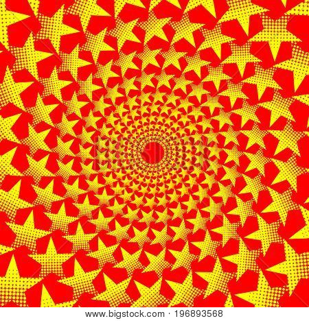 Yellow five-pointed star on red background - vector pattern , Abstract circular background - five-pointed star
