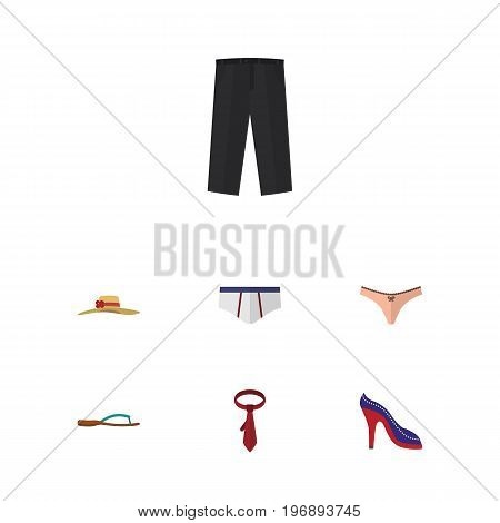 Flat Icon Garment Set Of Lingerie, Elegant Headgear, Underclothes And Other Vector Objects