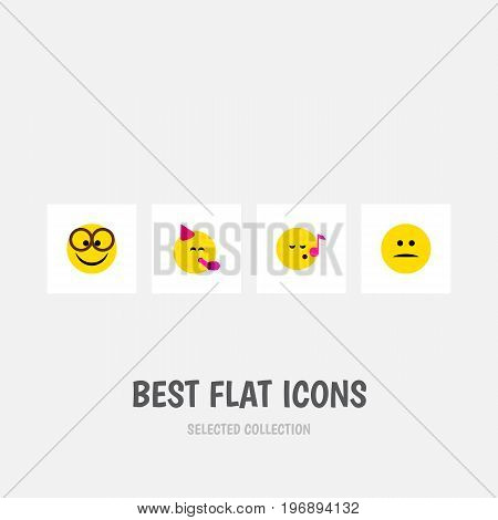 Flat Icon Expression Set Of Displeased, Party Time Emoticon, Pleasant And Other Vector Objects