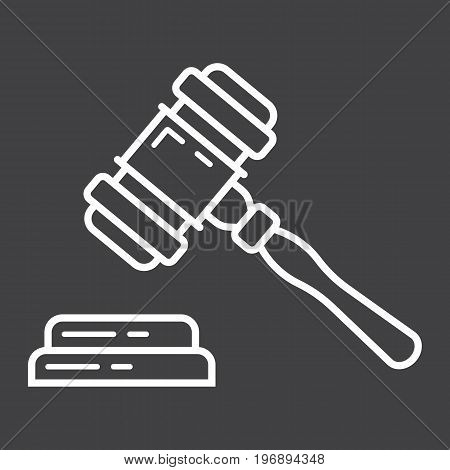 Auction hammer line icon, business and finance, judge gavel sign vector graphics, a linear pattern on a black background, eps 10.