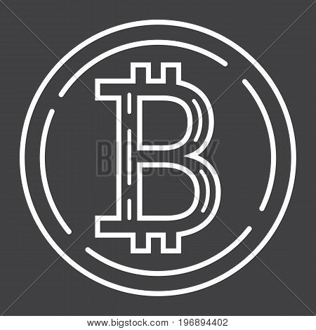 Bitcoin coin line icon, business and finance, virtual money sign vector graphics, a linear pattern on a black background, eps 10.
