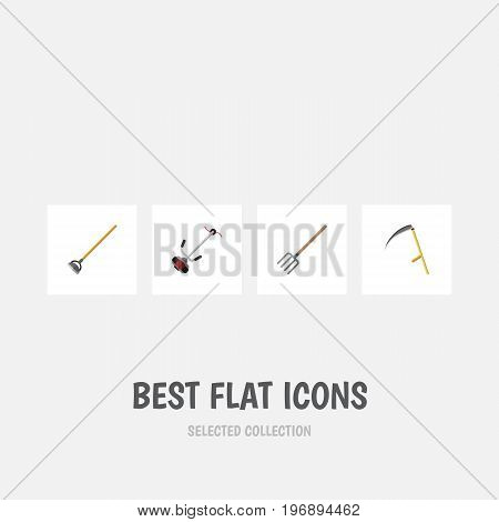 Flat Icon Dacha Set Of Hay Fork, Tool, Grass-Cutter And Other Vector Objects