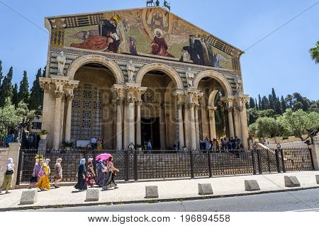 JERUSALEM ISRAEL - MAY 12: The Church of All Nations Church or Basilica of the Agony at the foot of the Mount of Olives in Jerusalem Israel on May 12 2017