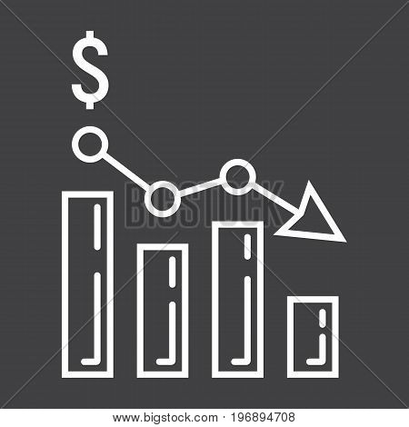 Declining graph line icon, business and finance, chart sign vector graphics, a linear pattern on a black background, eps 10.