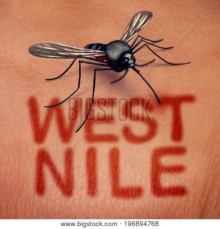 West nile virus disease as a mosquito borne illness as a bite on human anatomy with red text on skin as a medical infection syndrome symbol in a 3D illustration style.