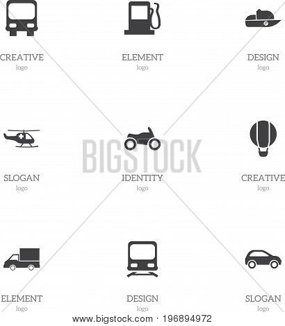 Set Of 9 Editable Transportation Icons. Includes Symbols Such As Motorbike, Emergency Copter, Autobus And More