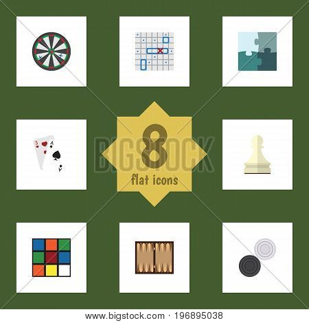 Flat Icon Play Set Of Cube, Sea Fight, Chequer And Other Vector Objects