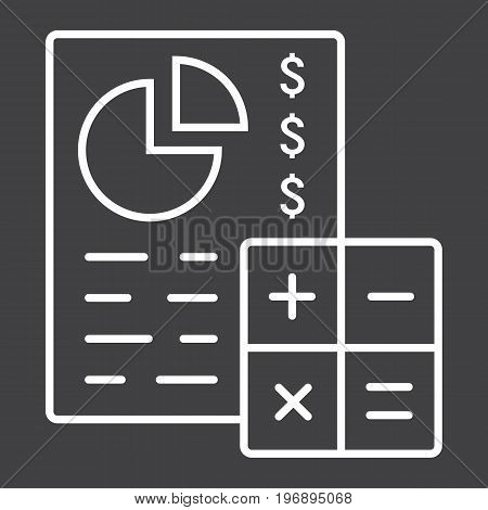 Budget planing line icon, business and finance, calculate sign vector graphics, a linear pattern on a black background, eps 10.