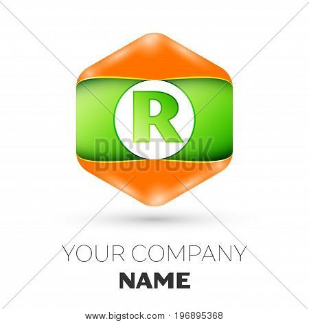 Realistic Letter R vector logo symbol in the colorful hexagonal on white background. Vector template for your design