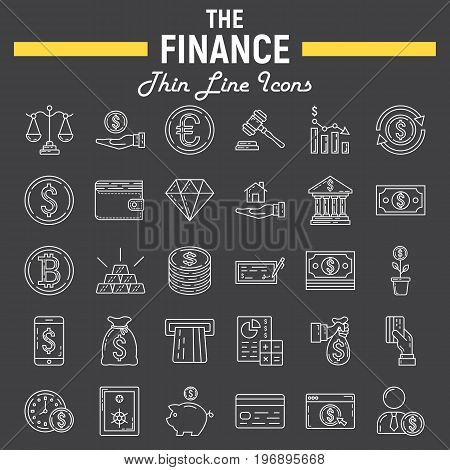 Finance line icon set, business symbols collection, marketing vector sketches, logo illustrations, business signs, linear pictograms package isolated on black background, eps 10.