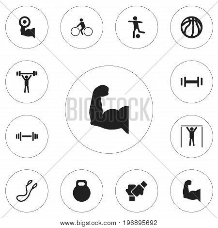 Set Of 12 Editable Healthy Icons. Includes Symbols Such As Bicycle Rider, Crossbar, Biceps And More