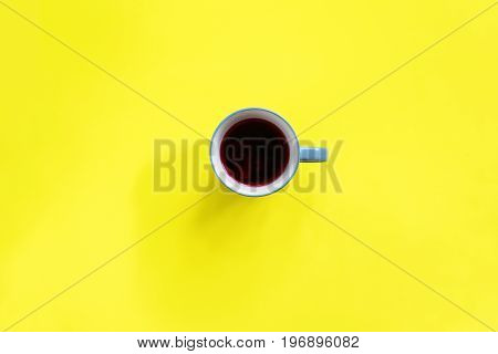Cup Beverage Yellow Flat Lay Background Top View