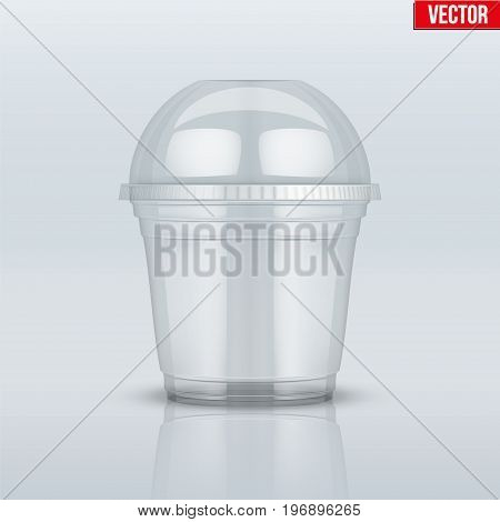 Clear plastic cup with sphere dome cap. For ice cream and dessert. Vector Illustration on presentation background.