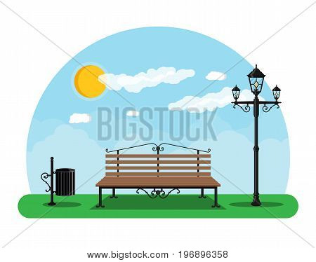City park concept, wooden bench, street lamp, waste bin in square. Sky with clouds and sun. Leisure time in summer city park. Vector illustration in flat style