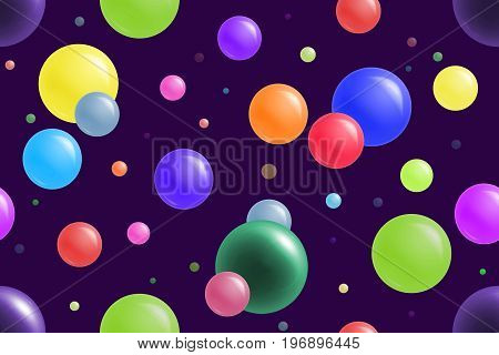 Bright and colorful balls on purple background. Cheerful seamless pattern.