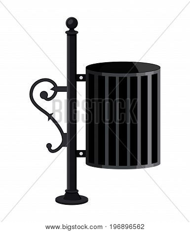 Iron litter waste bin isolated on white background. City park garbage containet with decorative elements. Vector illustration in flat style