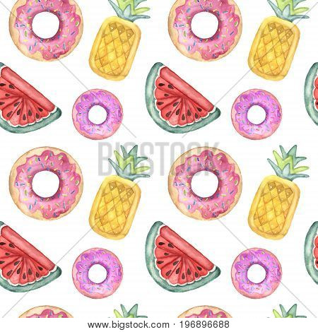 Watercolor pattern with pool floats. Hand painted air toy isolated on white background. Donut, pineapple and watermelon toys. Vacation illustration. For design, print or background