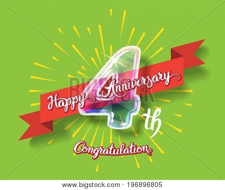 Happy 4th anniversary. Glass bulb number with ribbon and party decoration on the colorful background