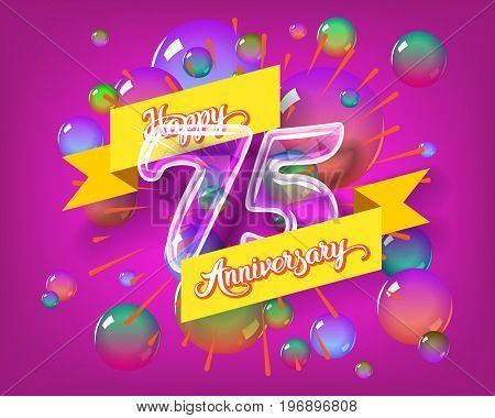 Happy 75th anniversary. Glass bulb number with ribbon and party decoration on the colorful background