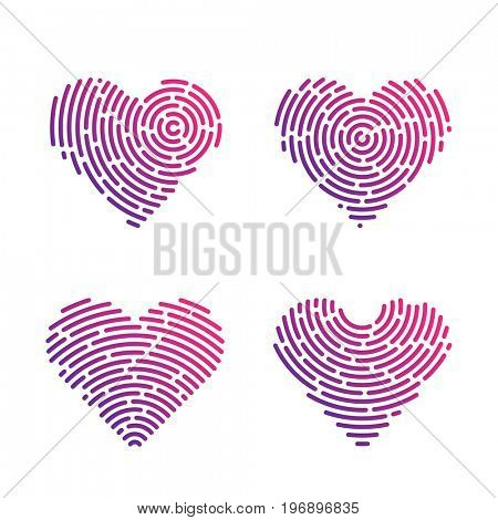 Heart Shape abstract Finger Print set