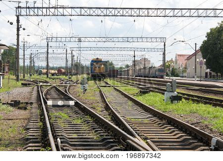 tracks of the great railway transport. Close up