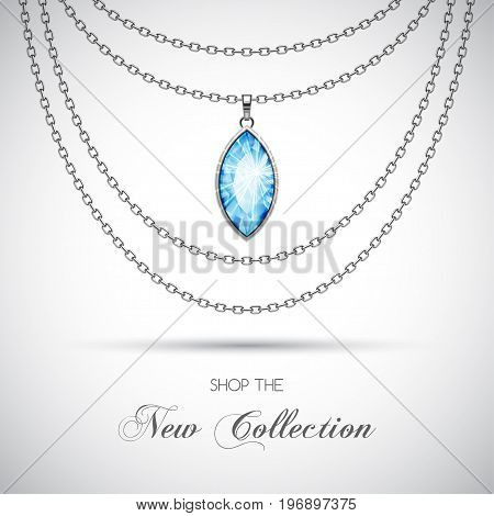 Silver chain necklace with diamond pendant. Vector Illustration
