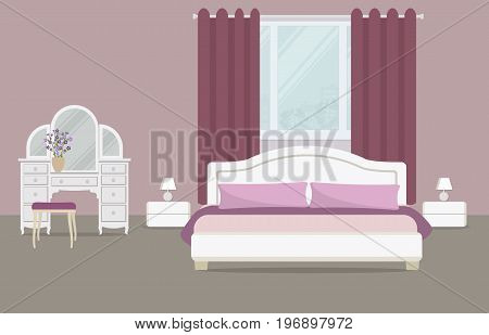 Bedroom in a purple color. There is a dressing table, a bed with pillows, bedside tables, lamps and other objects on a window background in the picture. Vector flat illustration