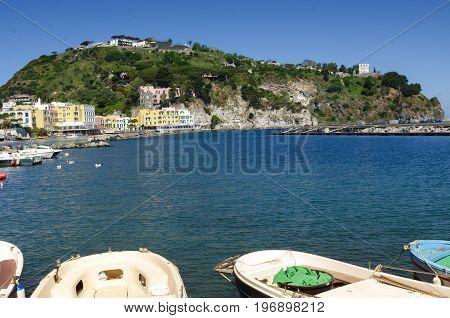 Ischia island, boats at village Lacco Ameno tourist destination in the bay of Naples Italy