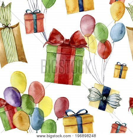 Watercolor seamless pattern with gift boxes and air balloon. Hand painted box with bow isolated on white background. Greeting ornament for design or background. Party print. Birthday background