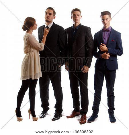 A group of well-dressed people standing on white background