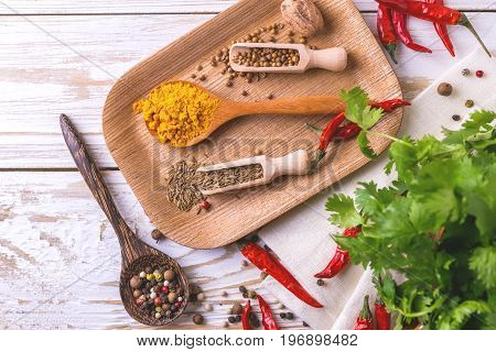 Indian Asian Spices And Cilantro. Copyspace. Top View