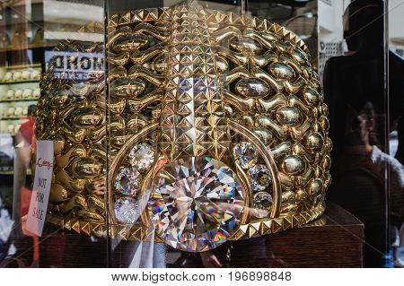DUBAI, UNITED ARAB EMIRATES - DECEMBER 7, 2016: Largest Gold Ring in the world in Deira Gold Souk. The Najmat Taiba or Star of Taiba weighs almost 64 kilograms.