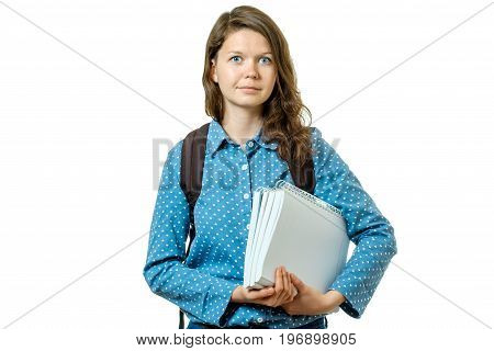 Portrait Of Young Student Girl With Books And Backpack