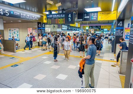 KYOTO, JAPAN - JULY 05, 2017: People hurry at Keihan Railway Station in Kyoto, Japan. Keihan Railway company was founded in 1949 and is among busiest in Japan.