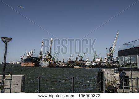 ships at the Klaipeda port. Lithuania baltic sea