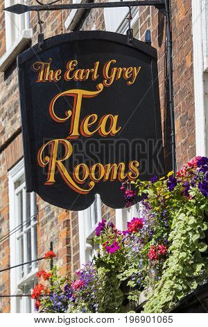 YORK UK - JULY 18TH 2017: The sign above The Earl Grey Tea Rooms on the Shambles in the historic city of York in the UK on 18th July 2017.
